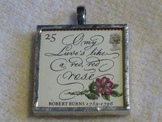 Postage Stamp Pendant: Robert Burns by bookshelvesofdoom on Etsy, $16.00