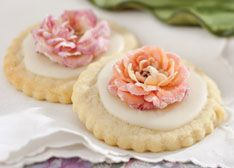 shortbread cookies garnished with gorgeous sugared roses