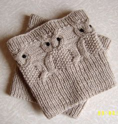 Knitting Pattern for Owl Boot Cuffs - Basic cable stitches with knit and purl transform into owls in these boot toppers.