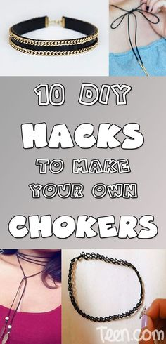 """""""Jewelry Making for Beginners: 11 Beginner Jewelry Projects"""" eBook While choker necklaces are in again right now, they'll most likely go out of style fairly quickly. So instead of spending tons of money to get in on the trend before it disappears, you can Diy Choker, Diy Necklace, Choker Necklaces, Diy Leather Choker, Earrings, Diy Projects To Sell, Diy Crafts To Sell, Kids Crafts, Diy Clothes No Sewing"""