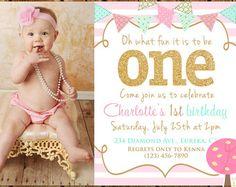 Shabby Chic primera invitación fiesta de por PinkLemonadeTree