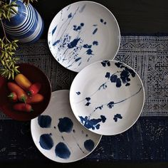 Red, White & Blue Decor by Jeanine Hays on @HGTV.  @west elm Nature Sun Print Plates.