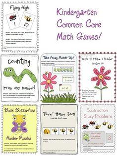 "7 ""Spring Time"" common core math games for kindergarten! (K.OA.1) (K.CC.2) (K.CC.7) (K.OA.5) $7.50"