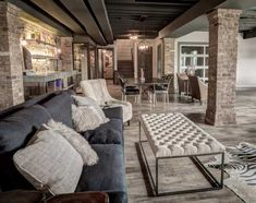 Vinyl planks can withstand damp concrete basement floors and look gorgeous at the same time. Concrete Basement Floors, Best Flooring For Basement, Damp Basement, Basement Gym, Basement Ideas, Basement Finishing, Basement Ceilings, Walkout Basement, Basement Storage