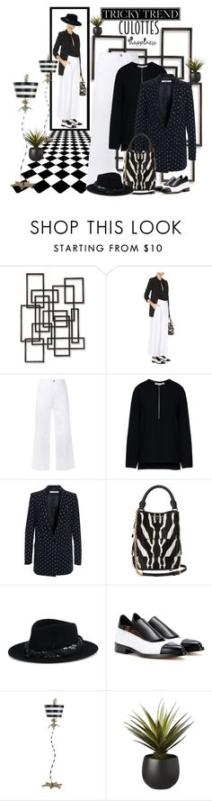 """""""Tricky Trend: Chic Culottes"""" by dadanana ❤ liked on Polyvore featuring Palecek, STELLA McCARTNEY, Givenchy, Burberry, Maison Michel, Francesco Russo, Flambeau and CB2"""