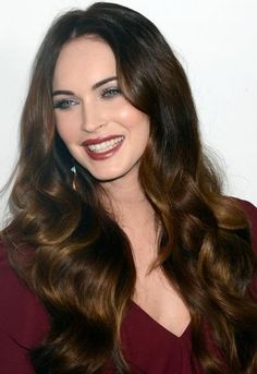 Megan Fox, with brown waves. Looks so healthy.