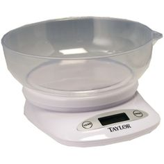Taylor 4.4lb Capacity Digital Kitchen Scale With Bowl The 4.4-lb digital kitchen scale from Taylor features a dishwasher safe bowl that inverts on the base for convenient storage. The scale can weigh in ounces or grams and can weigh up to 4.4 pounds. Dishwasher-safe Bowl Inverts On Base For Convenient Storage Tare Function Allows Weighing With Or Without Bowl On and off & Automatic Shutoff Functions Weighs In Ounces Or Grams 4.4-lb Capacity...