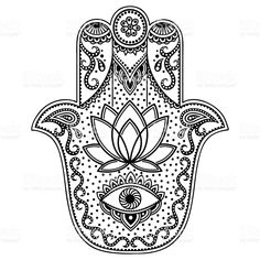 """Similar Images, Stock Photos & Vectors of Hamsa hand drawn symbol with lotus. Decorative pattern in oriental style for interior decoration and henna drawings. The ancient sign of """"Hand of Fatima"""". Hamsa Design, Hamsa Tattoo Design, Tattoo Designs, Hamsa Hand Tattoo, Hamsa Art, Fatima Hand Tattoos, Mandala Art, Tatouage Main Hamsa, Tattoo Painting"""