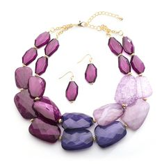 Shades of Purple Chunky Bridesmaid and Prom Jewelry Set - love it! - Affordable Elegance Bridal -