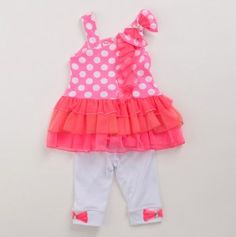 Infant Girls Polka Dot Top and Leggings Set