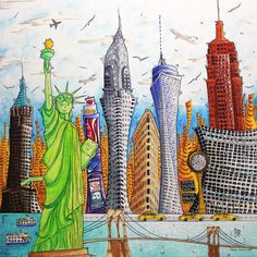 Original Pop Art Colorful Cities of the World Paintings by ...