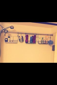 Add An Extra Shower Curtain Rod To The Shower To Hang Shower Caddies From It To Save Space