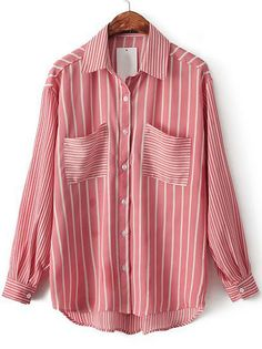 Red Lapel Long Sleeve Vertical Stripe Chiffon Blouse US$24.18