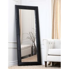 Abbyson Living Delano Black Leather Floor Mirror | Overstock.com Shopping - Great Deals on Abbyson Living Mirrors