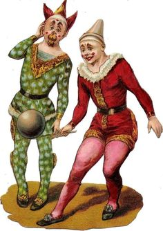 Oblaten Glanzbild scrap die cut chromo Zirkus Clown 14,5 cm circus cirque