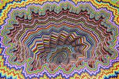 Cosmic Shift (detail), 2015, hand-cut acid-free colored paper, foam board, glue, acrylic paint, wood, varnish, 37 x 24 x 25 in.