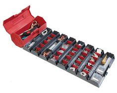 Intelligently designed roll up storage box, perfect for tools, craft supplies etc - just roll to close. Displays all contents at once when opened. Contents not included. Tool Roll, Container Organization, Tackle Box, Home Safety, Small Places, Dark Tan, Sewing Tools, Everyday Carry, Tool Kit