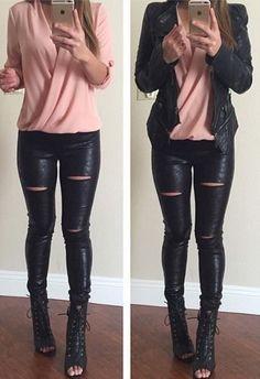 outfits coquetos negro y rosa