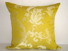 Silver floral   Yellow green decorative throw pillow  by SABDECO, €15.00