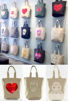 VM example of REPETITION (same bag in different variations creates a grid that catches the eye)Tote Bag Display - Bags have existed for hundreds of years and have been utilized by both women and men. Gift Shop Displays, Craft Show Displays, Craft Show Ideas, Handbag Display, Best Tote Bags, Jute Bags, Market Bag, Shopper, Craft Fairs