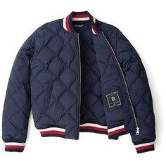 Tommy Hilfiger Stretch Quilted Bomber ($130) ❤ liked on Polyvore featuring outerwear, jackets, cotton zip jacket, lightweight quilted jacket, cotton bomber jacket, style bomber jacket and lightweight jackets