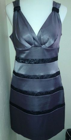 Bisou Bisou Gray/Black Formal Dress NWT Size 12 #BISOUBISOU #EmpireWaist #Formal