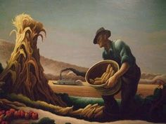 Daily Yonder detail from 'Aschelons and Hercules', 1947 by Thomas Hart Benton (American regionalist artist, American Realism, American Artists, Martha's Vineyard, Thomas Hart Benton Paintings, Chaim Soutine, Social Realism, Art Thomas, Most Famous Artists, Norman Rockwell