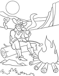 Free Cowboy Sitting Near Campfire Coloring Page For Kids