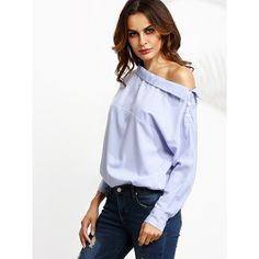 Blue Vertical Striped One Shoulder Button Blouse ($26) ❤ liked on Polyvore featuring tops, blouses, white top, long sleeve tops, white long sleeve blouse, one sleeve top and collar blouse