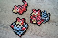 079 Ramoloss / Slowpoke 080 Flagadoss / Slowbro 080M Méga-Flagados / Mega Slowbro - Perler Beads by Vicsene Pixel Beads, Fuse Beads, Pearler Beads, Pokemon Craft, Mega Pokemon, Melty Bead Designs, Pokemon Pearl, Hama Beads Pokemon, Pearl Beads Pattern