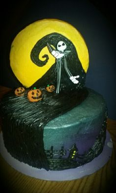 Nightmare Before Christmas Jack Skellington birthday cake. This bad boy took 12 hours to decorate, but it was a labor of love. My favorite cake adventure so far. The cake moon was held up with dowels. The cemetery/town is piped on with buttercream w/sprinkles for windows. The evening sky is silver and purple sugar spray.