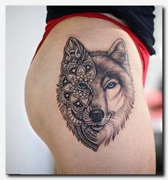 For Body Tattoo Designs Enthusiasts Absolutely No Area is Off Limits. Sleeve Tattoo Designs and Lower Back Tattoo Designs for women are. Pretty Skull Tattoos, Lace Skull Tattoo, Beautiful Tattoos, Wolf Tattoo Design, Skull Tattoo Design, Tattoo Wolf, Wolf Pack Tattoo, Fire Tattoo, Wolf Design
