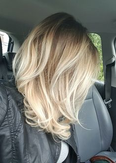Blonde Platinum Balayage Mid Length hair by Christopher Fox Salon