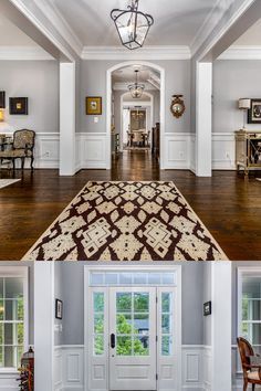 Dark toned hardwood flooring, grey paint with white decorative molding, elegant and modern light fixtures and open sight lines perfect for entertaining. Listed in Vienna, Virginia for $1.6M by The Casey Samson Team is a Wall Street Journal Top Team in Northern Virginia