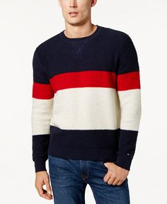 b55ceed7e Tommy Hilfiger Men's Colorblocked Sweater Tommy Hilfiger Outfit, Tommy  Shop, Blue Sweaters, Sweater
