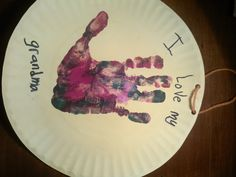 grandparents day plate hand print