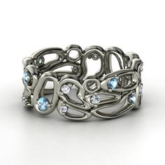 14K White Gold Ring with Blue Topaz