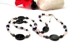 35 inch amethyst & natural stone necklace by InsomniacTreasures, $72.00