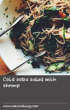 Cold soba salad with shrimp | I came across this recipe [adapted from Aida Mollenkamp] on Twitter of all places. And I say that with a dash of surprise because of the limited amount of time I spend there these days. It was good fortune to see the link when I did, because it made for a very satisfying meal, and one I look forward to making again. (I also love her trick of poaching the shrimp in the same pot while the noodles are cooking!) A few minor recipe tweaks ensued, mostly due to the…