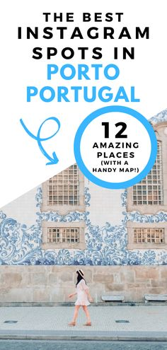 Heading to Porto Portugal? This post includes the best Instagram spots in Porto Portugal. From blue and white tiled churches to sunset views, there are so many Instagrammable places in Porto #portoportugal #instagramspots #portophotography