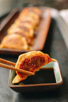 Gyoza ~ Pan fry with lid off, steam with lid on and finish by removing lid and crisping back up again.