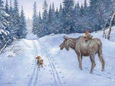 Elg og nisse (Moose and Gnomes)-Kjell Midthun Norwegian Christmas, Baumgarten, Scandinavian Art, Christmas Gnome, Children's Book Illustration, Beauty Illustration, Winter Scenes, Faeries, Cute Art