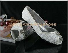 flat wedding shoes white peep toe bridal shoes