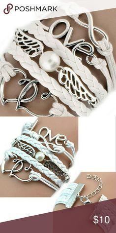 Leather multilayer Infinity Love Heart Braclet White, Leather multilayer Infinity Love Heart Braclet Brand new! Jewelry Bracelets