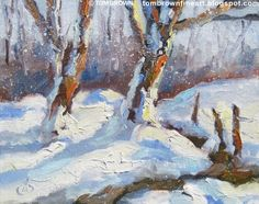 SNOWY LANDSCAPE, 8x10 ORIGINAL OIL PAINTING by TOM BROWN, original painting by artist Tom Brown | DailyPainters.com