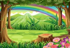 Buy A Rainbow and a Forest by interactimages on GraphicRiver. Illustration of a rainbow and a forest Landscape Design Plans, Landscape Edging, Forest Landscape, Fantasy Landscape, Wallpaper Paisajes, Cartoon Trees, Cartoon Clouds, Forest Mural, Scenery Pictures
