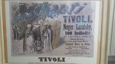 Amusement park ad from Denmark: Negro Village, 100 natives from the West African Gold Coast. Men, women and a large number of children. National dances and parade. Industrial workers and craftsmen.  Negro school, negro kitchen.