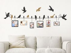 Wall decal photo frame birds on leash Creative Wall Painting, Creative Wall Decor, Wall Painting Decor, Family Tree Wall Decor, Tree Wall Art, Diy Wall Art, Family Tree Picture Frames, Photo Wall Collage, Picture Wall