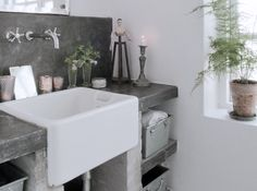 really like the industrial look for a basement bathroom