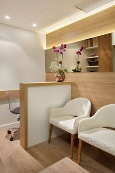 Decoration: Reception of Laboratories and Offices! See Tips and Ideas! Clinic Interior Design, Spa Interior, Clinic Design, Dental Office Decor, Medical Office Design, Dental Design, Nail Designer, Office Interiors, Decoration